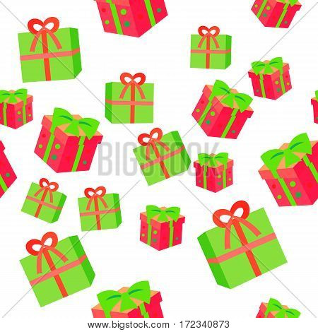 New Year boxes with ribbons seamless pattern. Gift boxes in simple cartoon style endless texture. Colourful big bow on top. Flat style design. Wallpaper design endless texture. Vector illustration