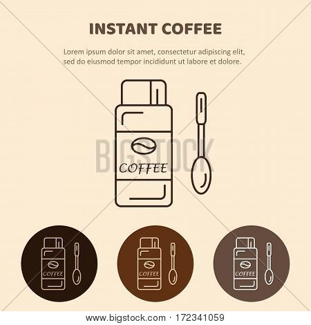 Coffee glass jar with instant coffee with a spoon. Vector isolated illustration. Line icon.