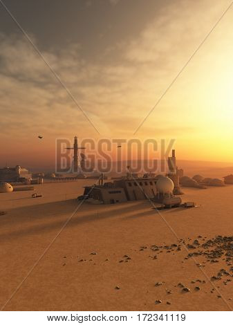 Science fiction illustration of an outpost town in the desert on an alien world, digital illustration (3d rendering)