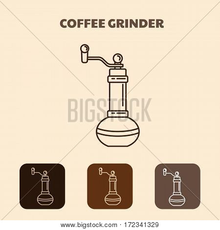 Coffee mill. Outline icon simple vector design with shadow. Vintage coffee Coffee grinder icon. Vector isolated illustration