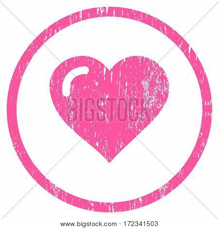 Love Heart grainy textured icon for overlay watermark stamps. Rounded flat vector symbol with scratched texture. Circled pink ink rubber seal stamp with grunge design on a white background.