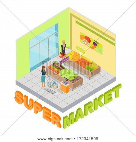Supermarket. Fruits and vegetables department. Shop inside. Two stands with fresh fruits and vegetables. People with carts choosing products. Shopping. Cartoon style. Flat design. Vector illustration