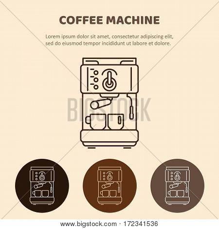 Modern coffee machine line icon. Coffee maker with cups. Household appliances isolated on colored background.