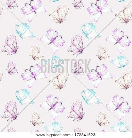 Seamless pattern with watercolor tender purple and mint butterflies, hand drawn isolated on a light purple  background