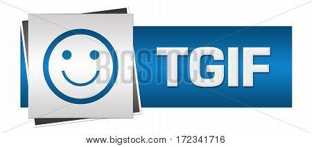 TGIF text alphabets written over grey blue background.