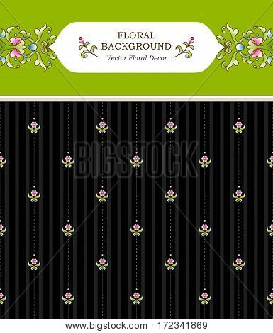 Vintage design element in Eastern style. Vector seamless pattern with floral ornament. Ornamental lace tracery. Bright backdrop web page template. Dark wallpaper. Traditional arabic decor.