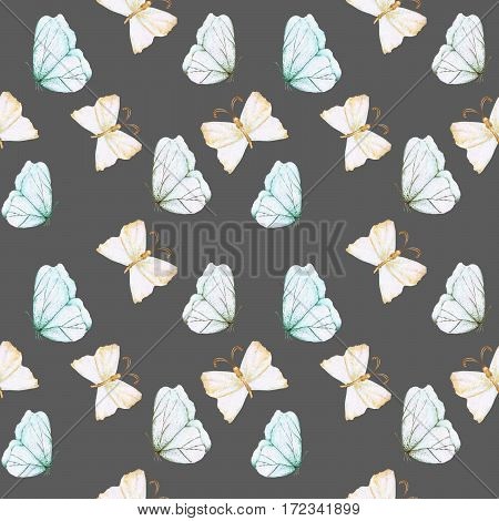 Seamless pattern with watercolor tender butterflies, hand drawn isolated on a dark background