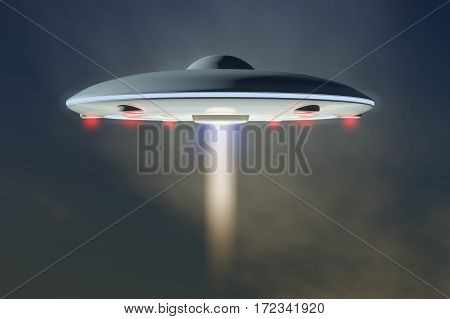 UFO, an unidentified flying object (3d rendering)