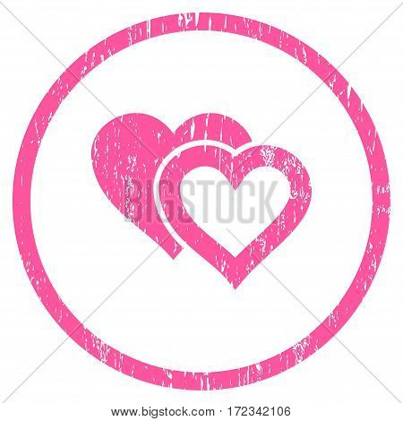 Love Hearts grainy textured icon for overlay watermark stamps. Rounded flat vector symbol with scratched texture. Circled pink ink rubber seal stamp with grunge design on a white background.