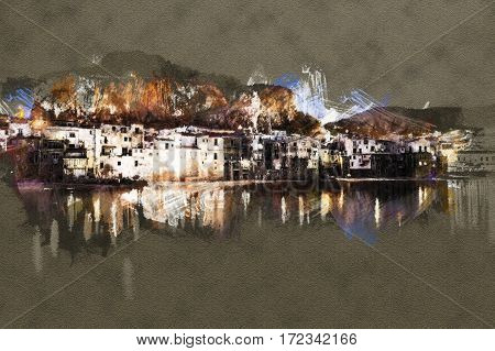 View on habour and old houses in Cefalu at night, Sicily. Beautiful townscape of old italian town. Modern Painting. Brushed artwork based on photo. Background texture.