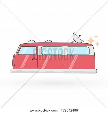 Vector hovercraft van illustration. Sci-fi stylized flat image on the white background.