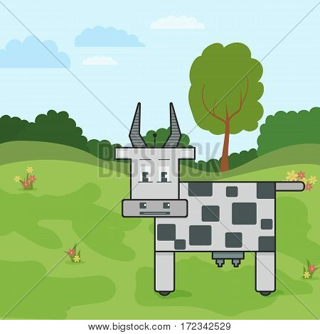 Vector robotic cow illustration. Flat image on the stylized meadow.