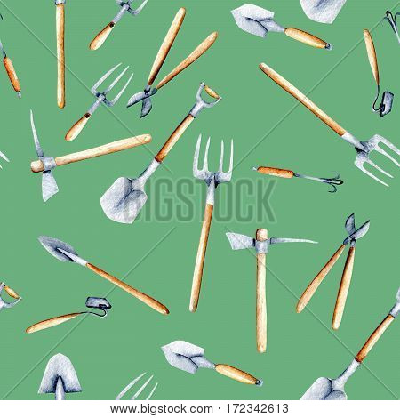Seamless pattern with watercolor objects of garden tools, hand drawn isolated on a green background