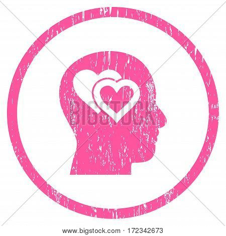 Love In Mind grainy textured icon for overlay watermark stamps. Rounded flat vector symbol with dust texture. Circled pink ink rubber seal stamp with grunge design on a white background.