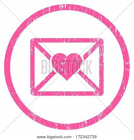 Love Letter grainy textured icon for overlay watermark stamps. Rounded flat vector symbol with scratched texture. Circled pink ink rubber seal stamp with grunge design on a white background.