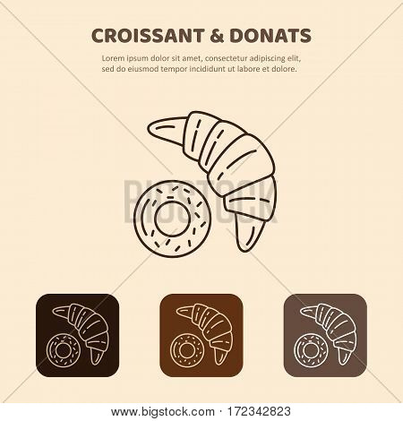 Croissant and donut line icon. Morning breakfast image. Isolated bakery bread food.