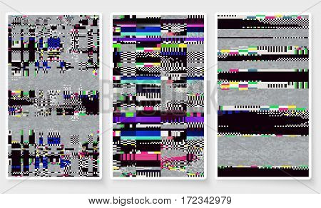 Glitch Screen Fail Mobile Device Data Error Wallpapers Set Grey