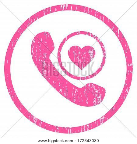 Love Phone Call grainy textured icon for overlay watermark stamps. Rounded flat vector symbol with dirty texture. Circled pink ink rubber seal stamp with grunge design on a white background.