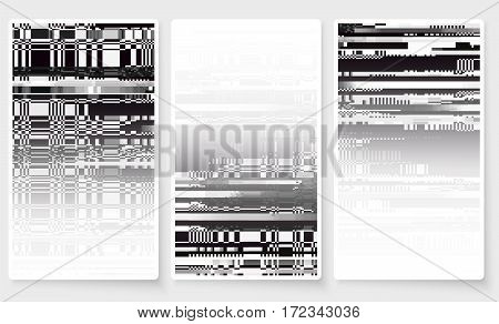 Glitch Screen Fail Mobile Device Data Error Wallpapers Set White