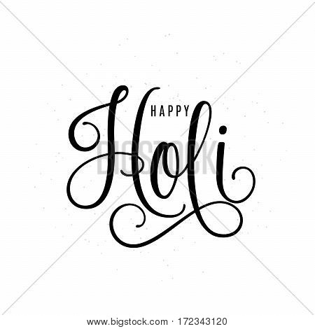 Vector illustration of happy holi lettering text silhouette sign isolated on white background for greeting card templates