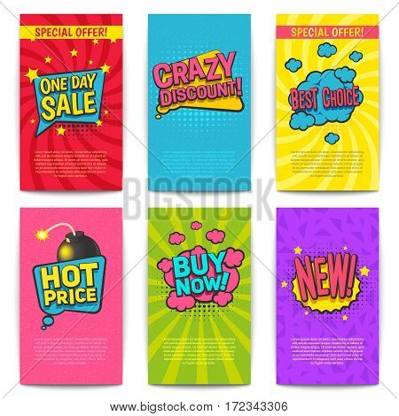 Discount comic posters set with special price symbols flat isolated vector illustartion
