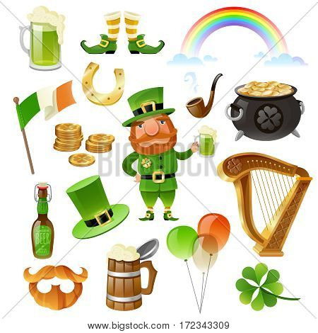 Saint Patrick Day elements set with leprechaun coins horseshoe beer harp shoes hat clover isolated vector illustration
