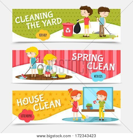 Colorful horizontal banners set with kids cleaning house and yard cartoon isolated vector illustration