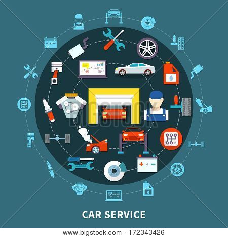 Auto service design concept with spares and  mechanic tools for diagnostics and maintenance decorative icons set flat vector illustration