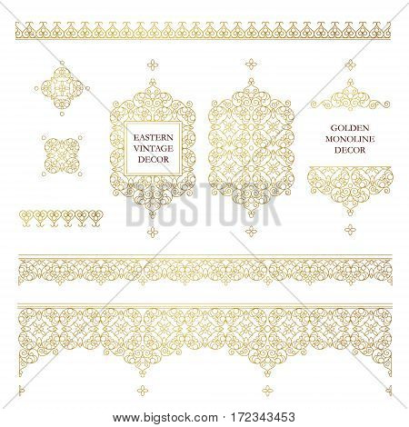 Vector set of line art frames and borders for design template. Element in Eastern style. Golden outline floral frames. Mono line decor for invitations greeting cards certificate thank you message.