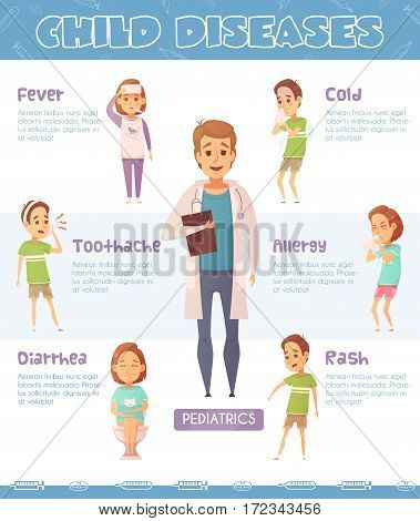 Infographic poster with six children and doctor cartoon characters representing various child diseases with text captions vector illustration