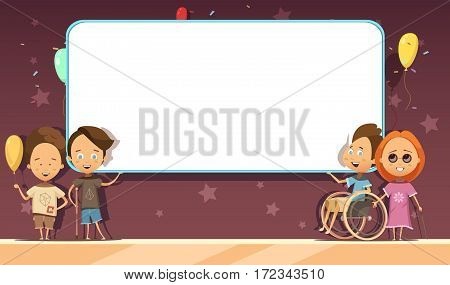 Disabled kids with white blank banner on dark background with decoration cartoon and retro design vector illustration
