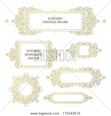 Vector set of line art frames for design template. Element in Eastern style. Golden outline floral frames. Mono line decor for invitations greeting cards certificate thank you message.