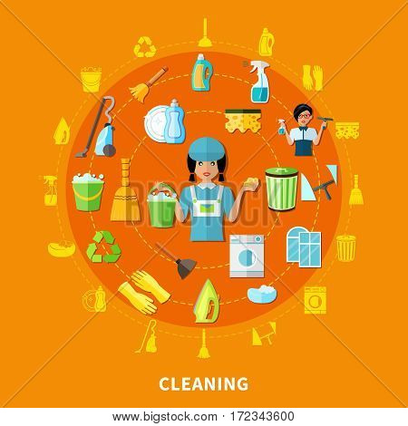 Composition with isolated decorative icons of cleaning tools equipment and housegirl character inscribed in circle shape vector illustration