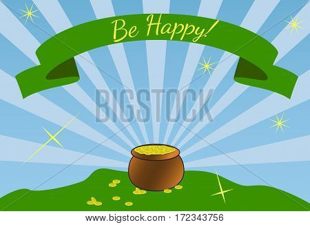 Shiny pot of gold coins. Flat style. Saint patricks day concept
