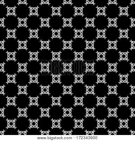 Vector seamless pattern, simple black & white ornamental background. Geometric texture, repeat tiles, carved figures, squares, rhombuses. Monochrome design for prints, decoration, textile, furniture, fabric, cloth