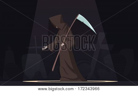 Death with scythe traditional black-hooded grim reaper symbolic figure in spotlight dark background poster cartoon vector illustration