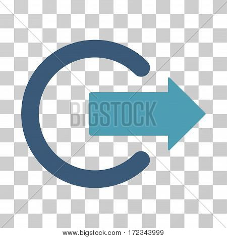 Logout vector pictograph. Illustration style is flat iconic bicolor cyan and blue symbol on a transparent background.
