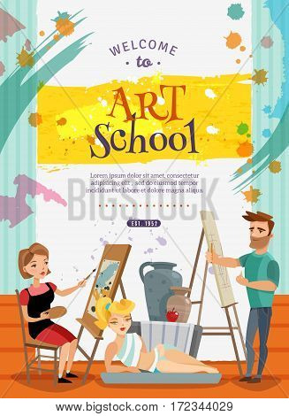 Art school courses on painting and graphic design creative cartoon invitation poster with live model vector illustration