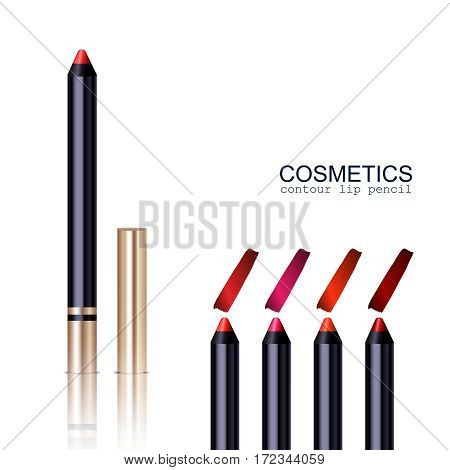 Lip pencil realistic set with different colors isolated vector illustration