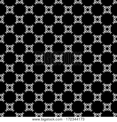 Vector seamless pattern, simple black & white ornamental background. Geometric texture, repeat tiles, carved figures, squares, rhombuses. Monochrome design for prints, decoration, textile, furniture, cloth