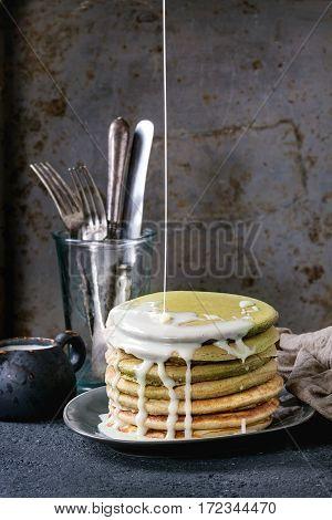 Ombre Matcha Pancakes