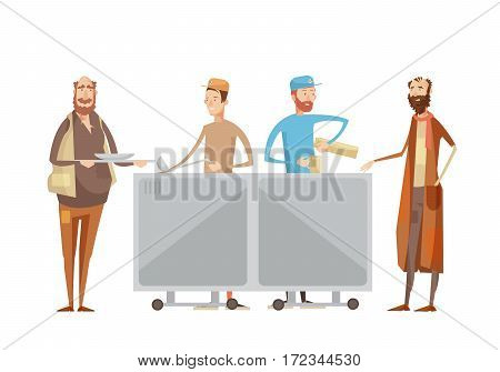 Volunteering composition with flat characters of volunteers in uniform dispensing drinks and food to rough sleepers vector illustration