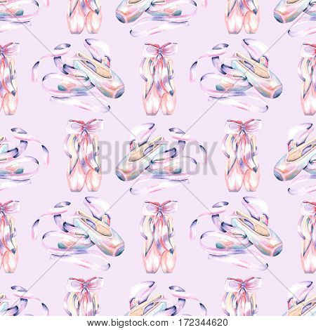 Seamless pattern with watercolor pointe shoes, hand drawn isolated on a light purple background