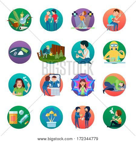 Narcotic round icons collection with circle compositions of drug production abuse marijuana growing smoking substance use vector illustration