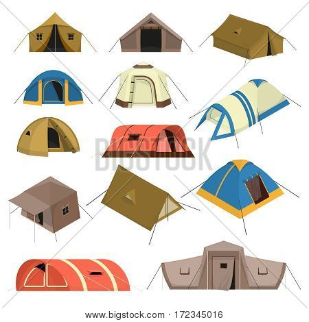 Set of colorful tourist tents of various design with canopy windows and rope isolated vector illustration