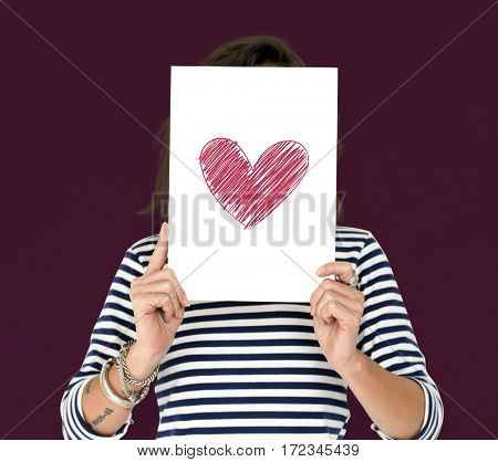Adult Woman Hold Heart Paper Feeling