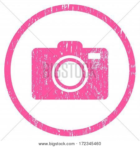 Photo Camera grainy textured icon for overlay watermark stamps. Rounded flat vector symbol with scratched texture. Circled pink ink rubber seal stamp with grunge design on a white background.
