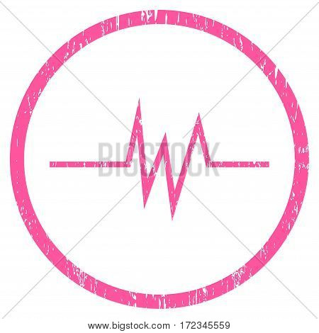 Pulse Signal grainy textured icon for overlay watermark stamps. Rounded flat vector symbol with unclean texture. Circled pink ink rubber seal stamp with grunge design on a white background.