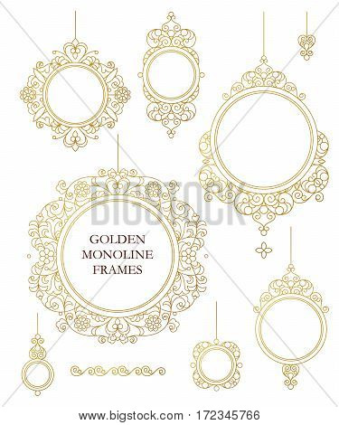 Vector set of line art frames for design template. Element in Eastern style. Golden outline floral borders. Mono line decor for invitations greeting cards certificate thank you message.