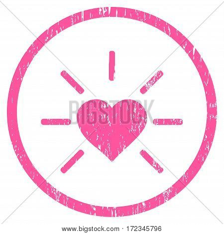 Shiny Love Heart grainy textured icon for overlay watermark stamps. Rounded flat vector symbol with scratched texture. Circled pink ink rubber seal stamp with grunge design on a white background.
